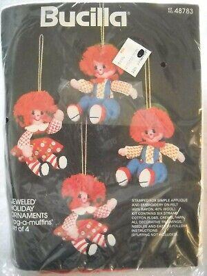 Rag a Muffins Jeweled Stitchery Ornaments Kit Makes 4 Ornaments Bucilla 48783