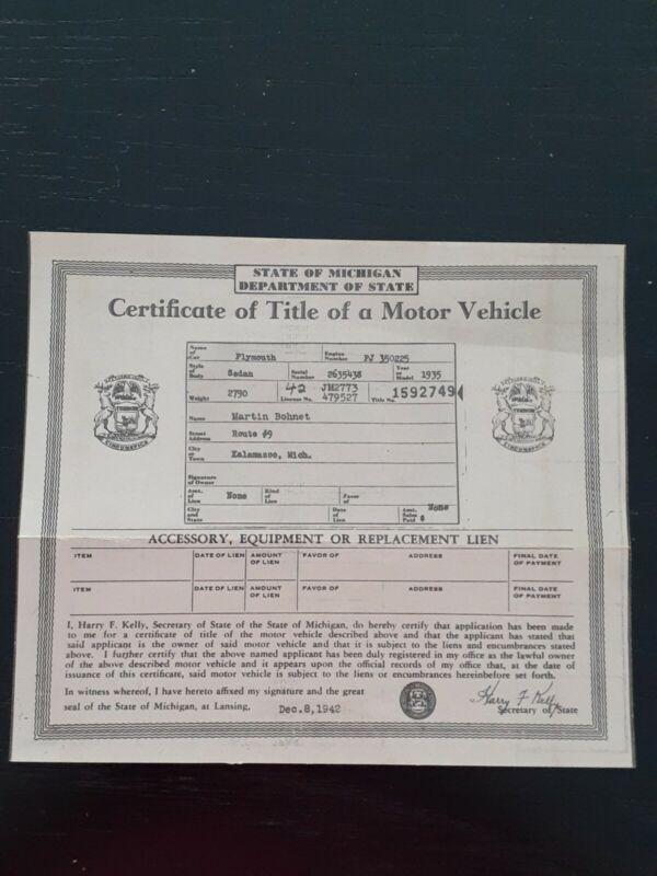 Vintage 1935 Plymouth Sedan Auto Car Title Michigan Iss 1942 historical document