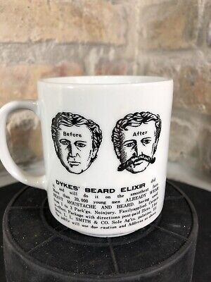 Vintage Advertising Dykes' Beard Elixir Mustache Mug With Guard Cup Shaving Rare