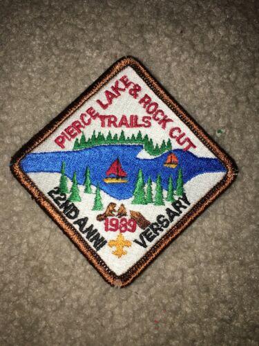 Boy Scout BSA Pierce Lake Illinois 22nd Anniversary 1989 Rock Cut Trail Patch