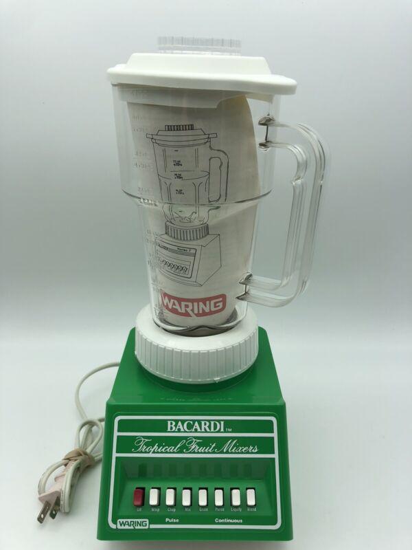 Rare Waring Mixer Blender Bacardi Tropical Fruit Green Plastic vintage