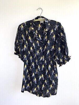 PAUL & JOE SISTER Miniroi black novelty birds silk shirt top tunic 3 L