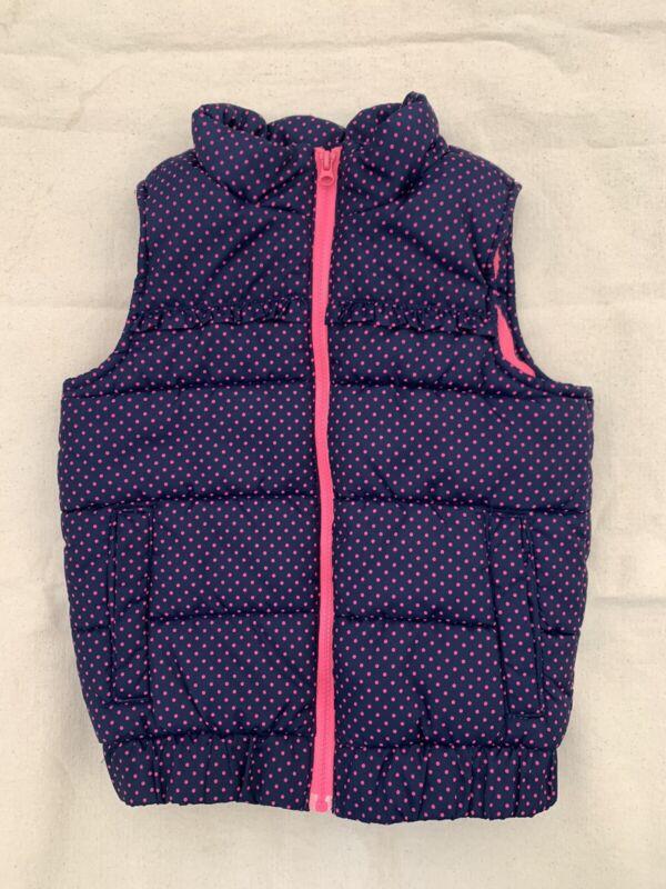 Genuine Kids OshKosh Baby Girl Puffer Vest Navy Blue Pink Polka Dot Size 4T