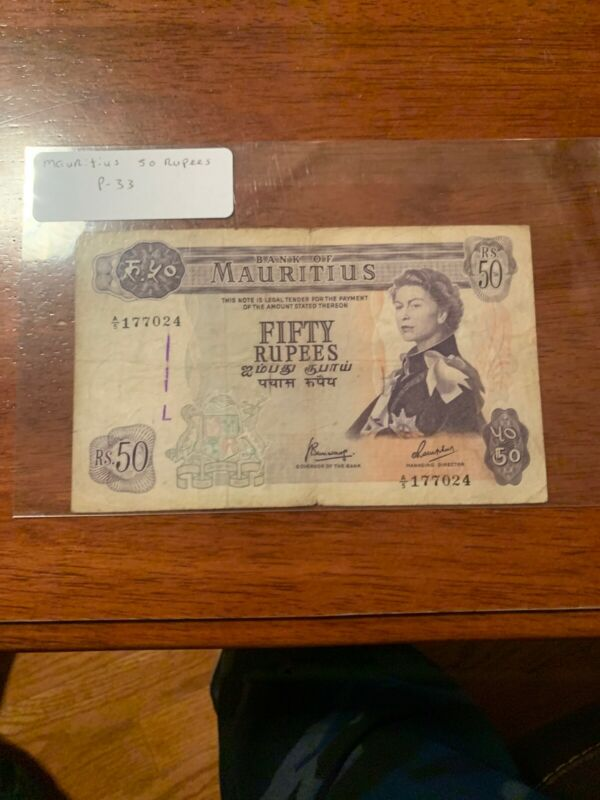 Mauritius Banknote P33c-9367  50 Rupees, Sig 3. PFX A/5, QE II, Crisp, F