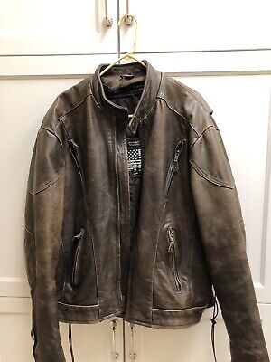 Free Shipping leather jacket bikers dream apparel sz48 all zippers work vheav