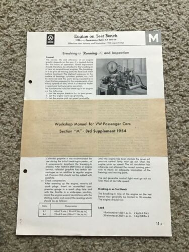 1954 VW Beetle workshop manual 3rd supplement section M.