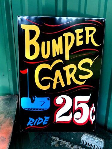 Vintage Carnival Painted BUMPER CARS Sign Circus Amusement Park Midway FAIR ART