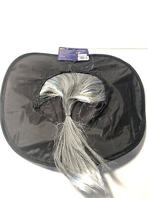 WITCH HAT WITH GRAY PONY-TAIL HAIR ~ NEW ~ RUBIES](Witch Hat With Hair)