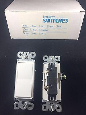 Decora 15 Amp Rocker / Paddle Switch Single Pole 17-1PDS15A White (10 (Single Pole Decora Rocker Switch)