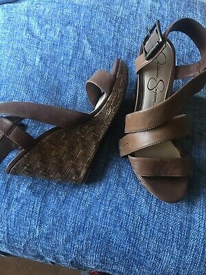 Jessica Simpson Tan Strappy Wedges Size 6