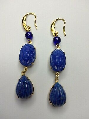 1920s Art Deco Jewelry: Earrings, Necklaces, Brooch, Bracelets Vintage lapis art deco glass drops Neiger pharaohs gold brass earrings  $21.99 AT vintagedancer.com