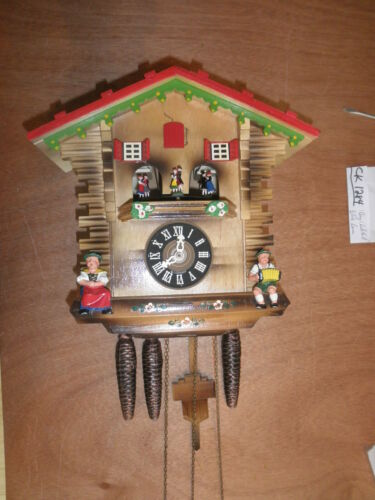 Cuckoo Clock German made Black Forest  SEE VIDEO Musical Chalet 1 Day CK1284