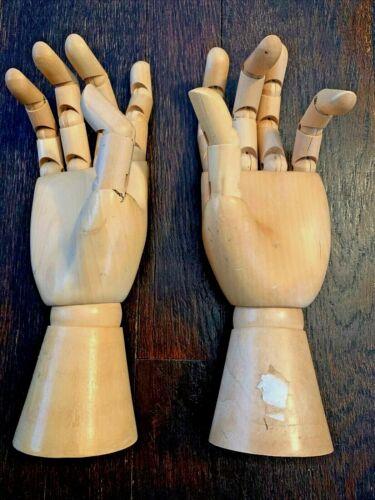 Vintage Articulated Hand Mannequin Artist ART Drawing Model Figure Wood Lot 2