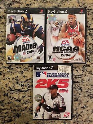 PLAYSTATION 2 NCAA 2004, MLB 2K5, MADDEN 2003 LOT OF 3 SPORTS GAMES