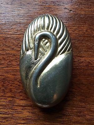 Vintage 'Revlon' Gold Swan Perfume Compact Pill Trinket Box - No Perfume