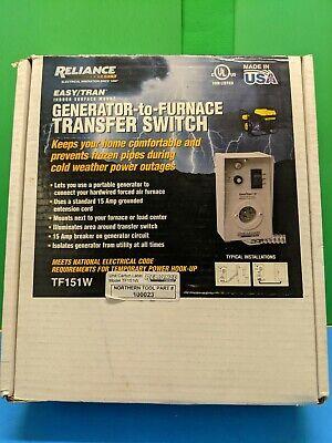 Reliance Controls Generator-to-furnace Transfer Switch Model Tf151w