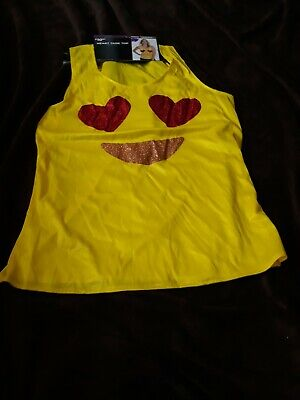 Modest Plus Size Halloween Costumes (Emoji Glitter Heart Eyes Womens Halloween Tank Top Costume Size Small)