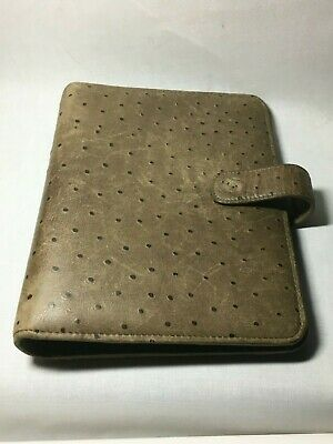 Vintage Franklin Covey Classic Leather Planner Ostrich Leather Design Rare