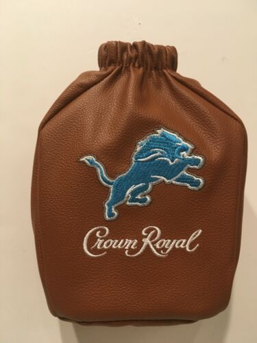 CROWN ROYAL SPECIAL EDITION DETROIT LIONS LEATHER COLLECTIBLE FOOTBALL BAG - NEW