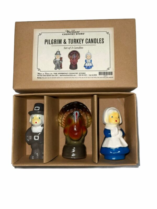 """The Vermont Country Store Pilgrim & Turkey Candles Thanksgiving Decor 3.5"""" NEW"""