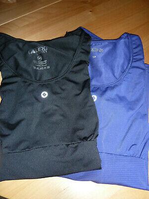 2 Damen-Sport T-Shirts Gr. 38 schwarz und dunkellila