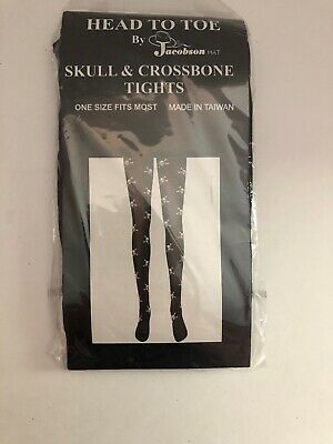 Pirate Tights Skull and Crossbones Nylons Stockings Womens Teens One Size Skull And Crossbones Tights