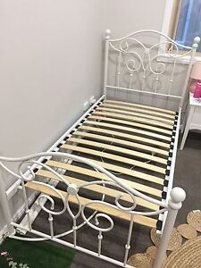 Girl's White Wrought Iron Bed with Canopy Capalaba Brisbane South East Preview