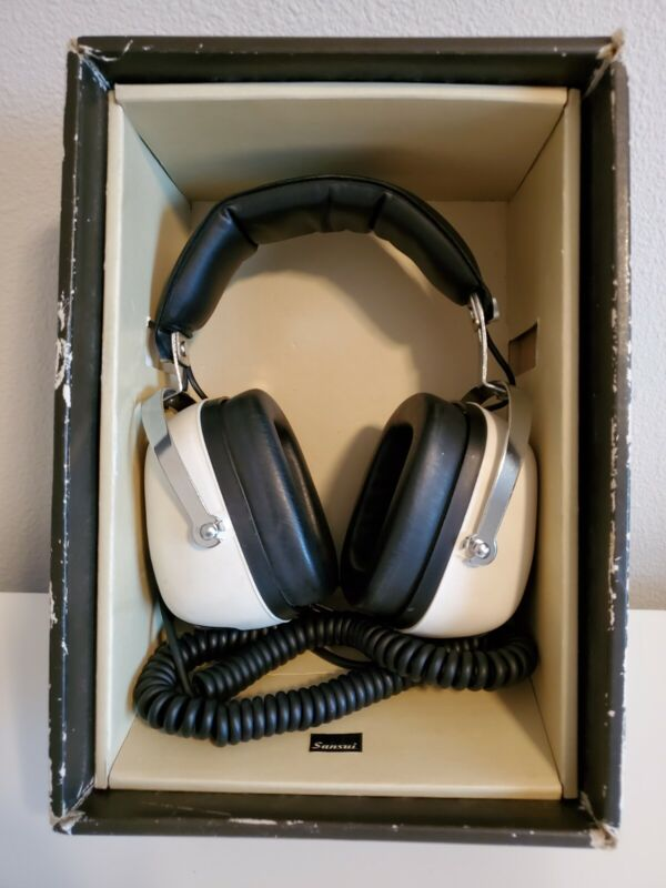 Sansui SS-20 2-Way Impedance Stereo Over-Ear Headphones Original Box Works 8ohms