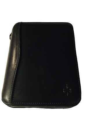 Franklin Covey Black Leather Spacesaver 6 Ring Binder Agenda Day Planner Zipper