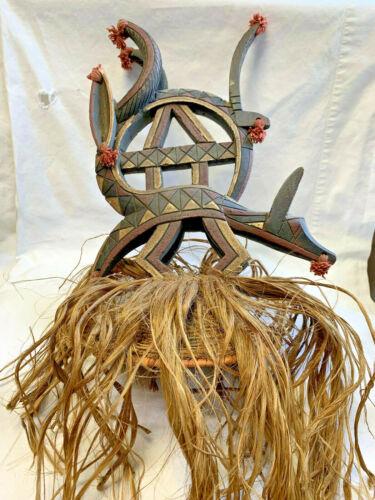 African Vtg Carved Wood Tribal Headdress Hat Coyote Dog Wolf Art Straw Hair Mask