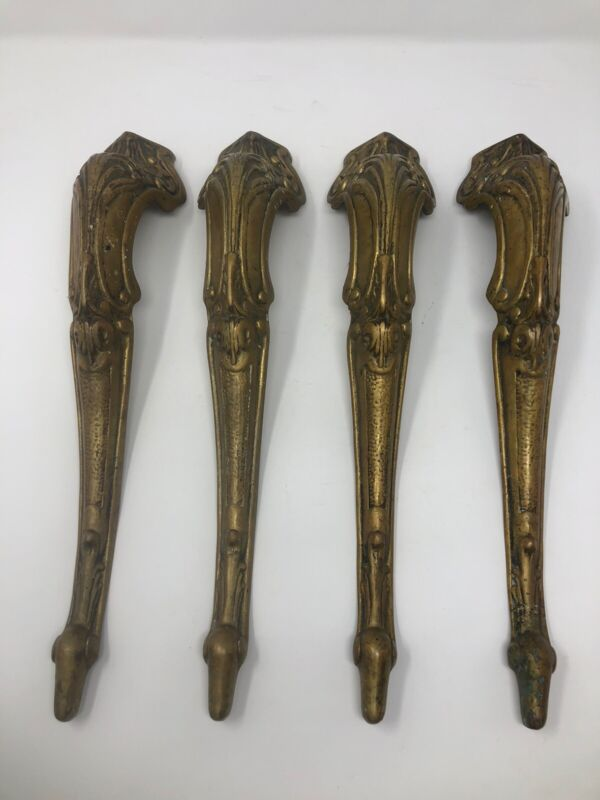 4 Matching Antique Vtg Ornate Victorian Serpent Brass Furniture Table Chair Legs