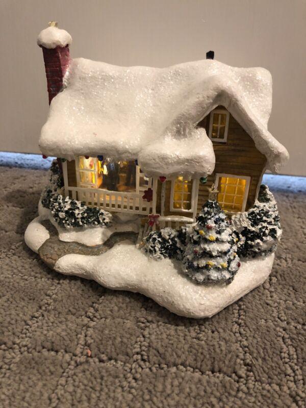 Thomas Kinkade Telaflora Lighted Christmas Cottage Childhood Home 2008