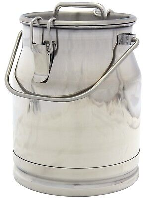 2.6 Gal. Stainless Steel Milk Can Heavy Duty With Strong Sealed Lid 10 Qt