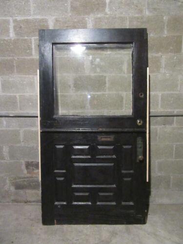 ~ ANTIQUE OAK DUTCH DOOR WITH BEVELED GLASS ~ 45 X 84 ~ ARCHITECTURAL SALVAGE ~