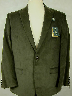 NWT $295 Ralph Lauren Dark Olive Green Cotton Corduroy Jacket Sport Coat 44L