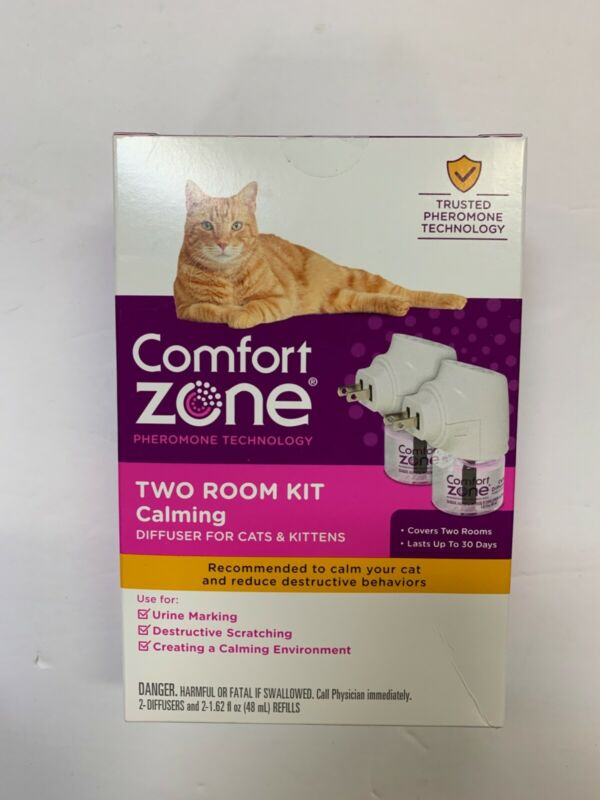 Comfort Zone Calm Diffuser Two Room Kit For Cats And Kittens with 2 refills New