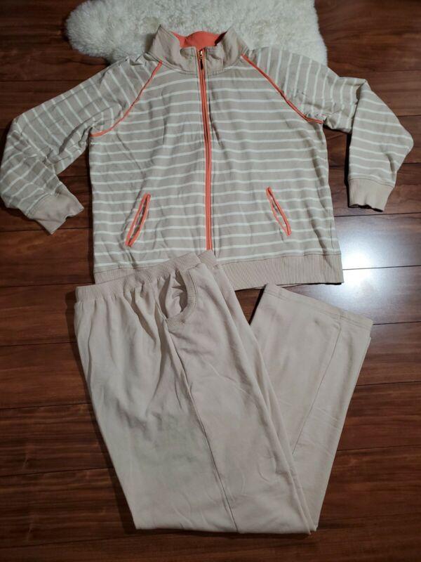 Onque Casuals 2 Pc Set Outfit Pants Jacket Top Tan Cream Striped L XL