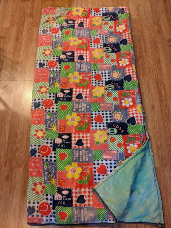 Rare 70s Vintage Sleeping Bag With storage bag Earth Day Ecology Mother Nature