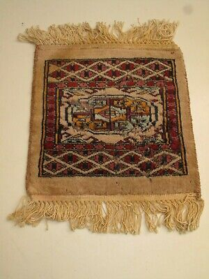 VTG BOKHARA ORIENTAL CARPET,HAND KNOTTED, MAT, TAN RED MEDALLION, 1X1 DOLLHOUSE