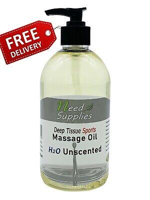 Deep Tissue Sports Massage Oil 500ml + Pump, Dispersible 100% Natural Unscented