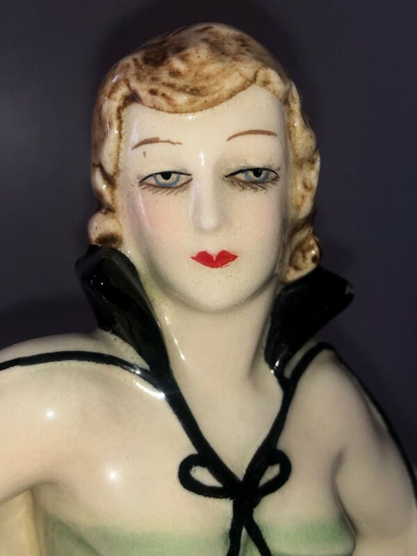 Antique Art Deco Porcelain Lady Woman Flapper Figurine Figure Czechoslovakia