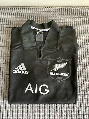 Adidas All Blacks Rugby Shirt XL 2017/18 New Zealand AIG Jersey Home