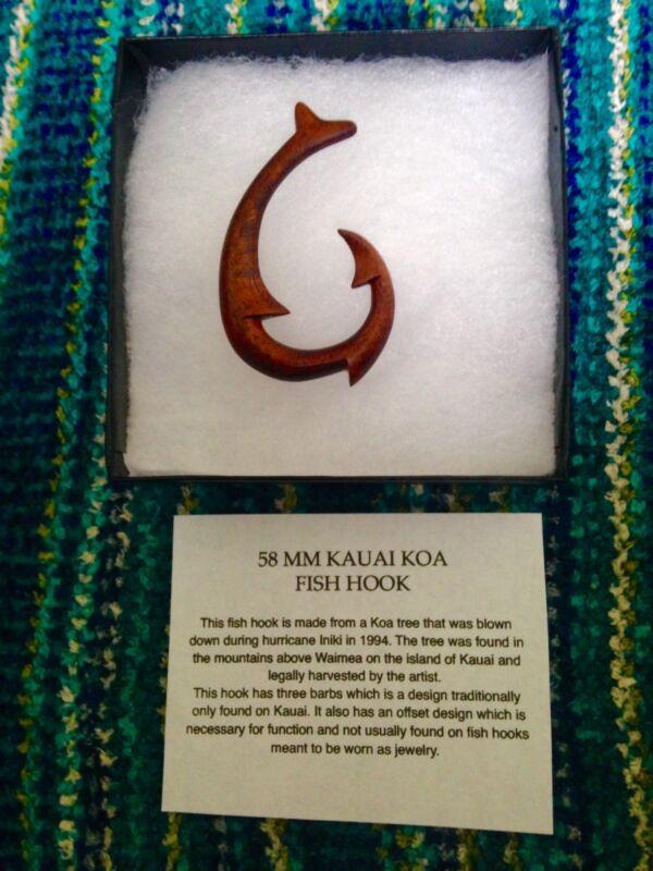 hawaiian wood fish hook necklace, 58 millimeter Koa