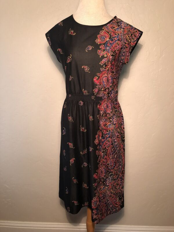 Vintage 70s Black Paisley Print Festival Boho DRESS S/M
