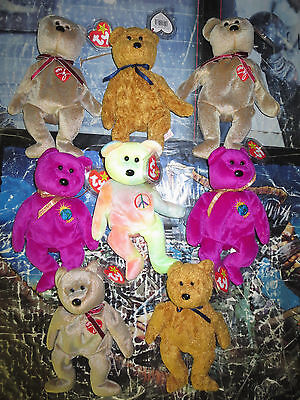 Beanie Babies (Ty) Lot - 8 beanies, 4 different- Signature Fuzz Millennium Peace
