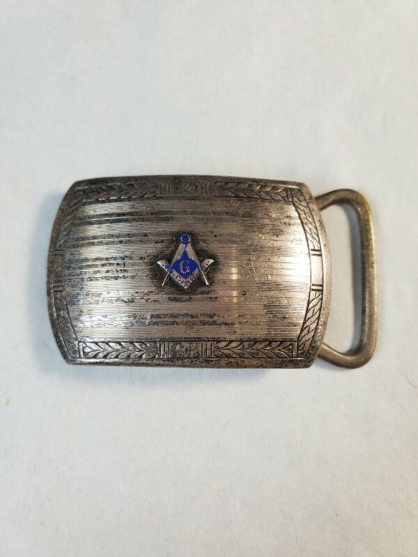 Marsh Sterling Masonic Freemason Enamel Deco Belt Buckle