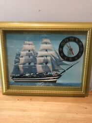 "Large Vintage 15x12"" Ship Hanging Wall Clock. Nautical. Battery Included!"