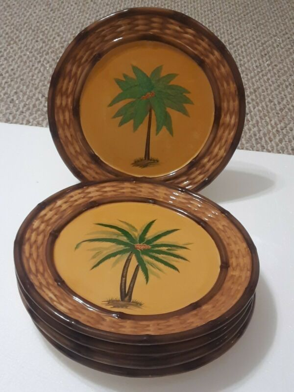 """Pacific Rim Palm Tree Hand Painted 11"""" Plate Basket Weave Edge Embossed Set of 5"""