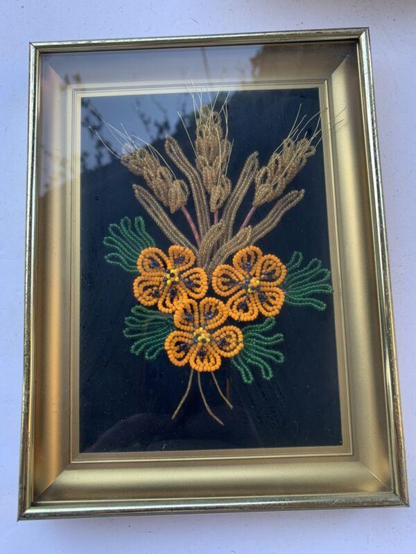 VTG Framed French Glass Beaded Flower Gorgeous Orange Beaded Flower