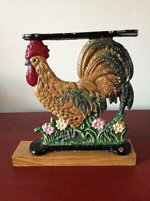 Antique Cast Iron Rooster Cock Hand Made Hand Painted